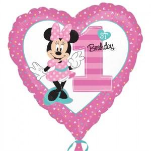Balão Coração Minnie 1 Ano 43cm