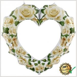Balão foil Moldura Coração Rosas Brancas 107Cm