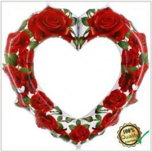 Balão foil Moldura Coração Rosas Vermelhas 107Cm