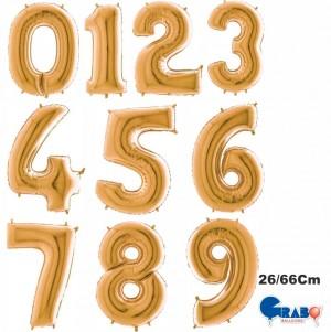 """Balões Numeros Ouro 26""""/66cm Grabo"""