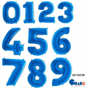 "Balões Numeros Azul 40""/102cm Grabo"