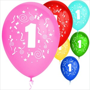 Balões Numero 1 Latex ( Desenho 2 faces) 10Un.