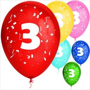 Balões Numero 3 Latex ( Desenho 2 faces) 10Un.