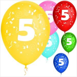 Balões Numero 5 Latex ( Desenho 2 faces) 10Un.