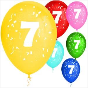 Balões Numero 7 Latex ( Desenho 2 faces) 10Un.