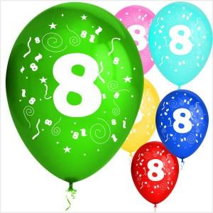 Balões Numero 8 Latex ( Desenho 2 faces) 10Un.