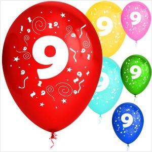 Balões Numero 9 Latex ( Desenho 2 faces) 10Un.