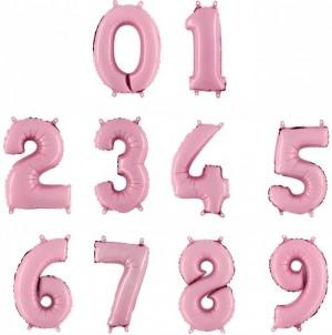 Balões Números Foil 38cm Rosa