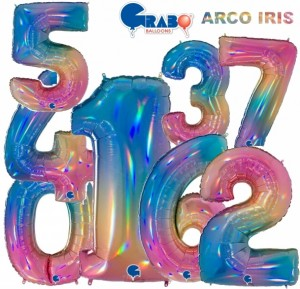 "Balões Número Arco Iris 40""/102cm Grabo"