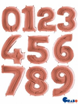 Balões Números Foil 38cm Rosa Gold