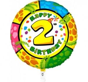 Balão 2º Aniversário redondo 53Cm