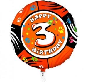 Balão 3º Aniversário redondo 53Cm