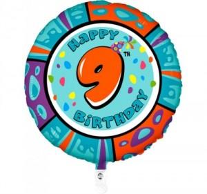 Balão 9º Aniversário redondo 53Cm