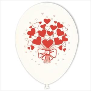 10 Balões Redondos Ramo Corações (Desenho 2 faces)