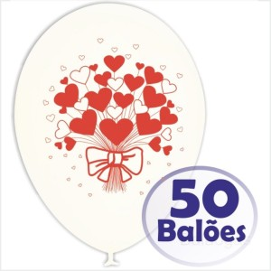 50 Balões Brancos Redondos Feliz dia dos Namorados (Desenho 2 faces)