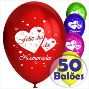 50 Balões Redondos Feliz dia dos Namorados (Desenho 2 faces)