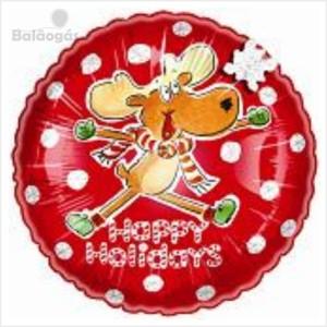 Balão foil Redondo Rena Natal 40Cm