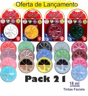 Tinta Facial Pack 21 Cores Rubyred 18ml