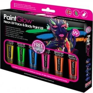 Kit 6 Tintas de Neon UV Facial e Corporal