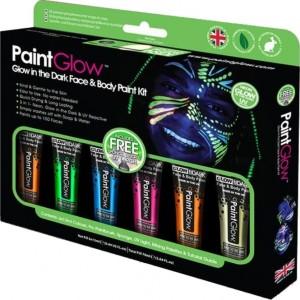Kit 6 Tintas de Glow  Brilha no Escuro Facial e Corporal