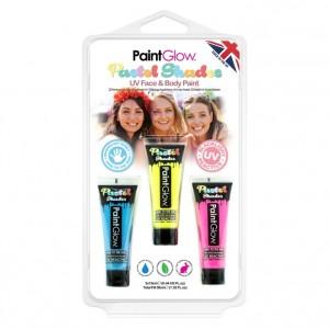 Kit 3 Tintas de Neon UV Facial e Corporal Pastel