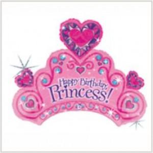 Balão foil Tiara Princesa Happy Birthday Holographic 86cm