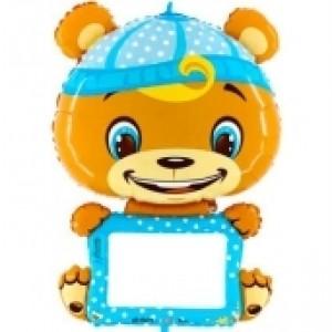 Balão Urso Azul p/ Personalizar 110cm