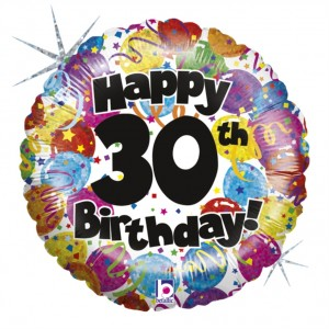 Balão Foil Happy Birthday 30 Holographic 46Cm