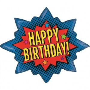 Balão Super Heroi Happy Birthday 91cm Grabo
