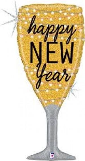 Balão Taça Champanhe Ouro New Year 94cm
