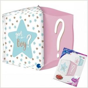 Balão Foil Quadrado 4D Boy or Girl? 38cm