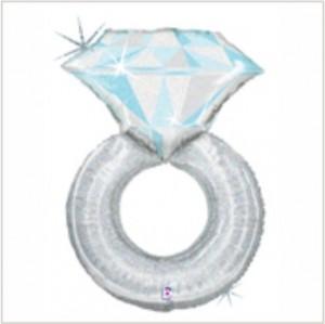 Balão foil Anel Platina Diamante Holographic 97Cm