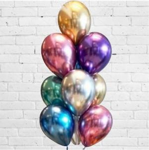 5 Balões Cromados 30cm