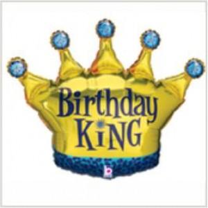 Balão foil Coroa Birthday King 91cm