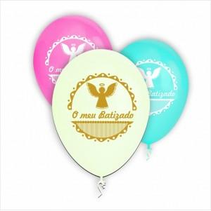 10 Balões Batizado 3 cores disponiveis