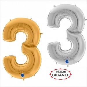 """Balão foil Numero 3 Gigante 64""""/163cm"""