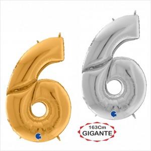 """Balão foil Numero 6 Gigante 64""""/163cm"""