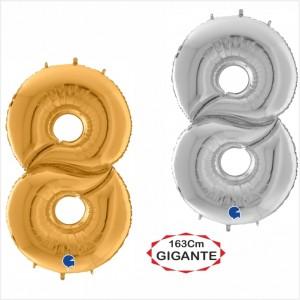 """Balão foil Numero 8 Gigante 64""""/163cm"""