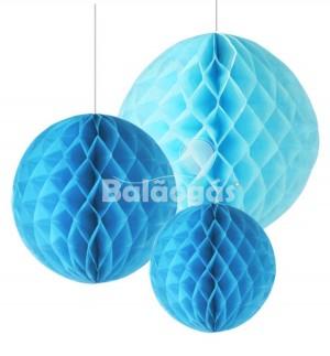 Balão de Papel em Favos Azul Bébé