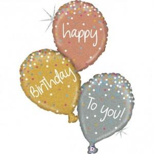 Balão Trio Birthday (Glitter) 102cm Grabo