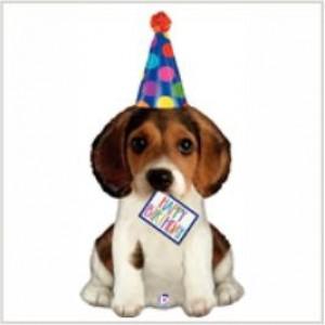 Balão foil Cachorro Birthday 104cm Grabo
