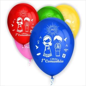 10 Balões Comunhão Meninos (Desenho 2 Faces)