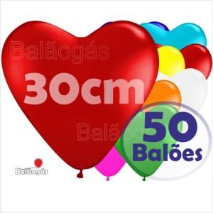 50 Balões Coração 30cm