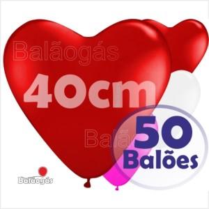 50 Balões Coração 40cm