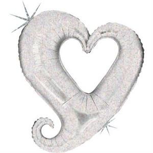 Balão Colar Coração Prata 94cm