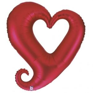 Balão Coração Colar Vermelho 94cm