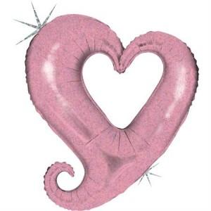Balão Colar Coração Rosa 94cm