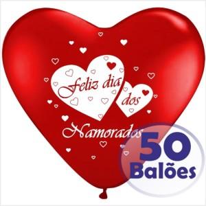50 Balões Coração Feliz dia dos Namorados