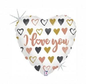 Balão Coração Love You Rosa Gold 45cm