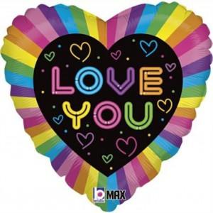 Balão Coração Love You Neon 46cm Grabo